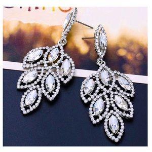 Jewelry - Silver Tone Crystal Ellipse Statement Earrings